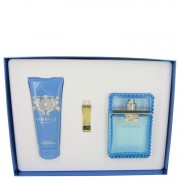 Versace Man by Versace Gift Set -- 3.4 oz Eau De Toilette Spray (Eau Fraiche) + 3.4 oz Shower gel + Gold Versace Money Clip for Men