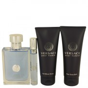 Versace Pour Homme by Versace Gift Set -- 3.4 oz Eau De Toilette Spray + 0.3 oz Mini EDT Spray + 3.4 oz After Shave Balm + 3.4 oz Hair & Body Shampoo for Men